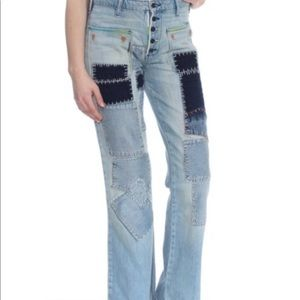 NWT FREE PEOPLE PATCH WORK FLARE JEANS!!